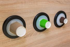 Dispenser for cups of coffee. Holder, the tube of the delivery of glasses